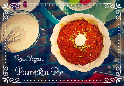 Home made raw vegan pumpkin pie